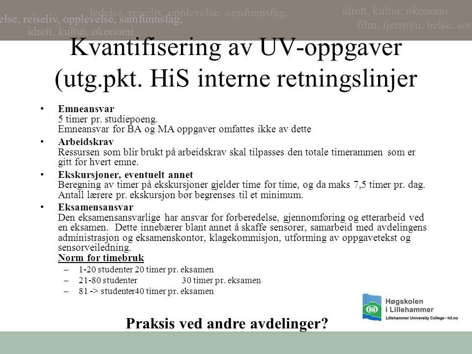 Kvantifisering av UV-oppgaver (utg.pkt. HiS interne retningslinjer