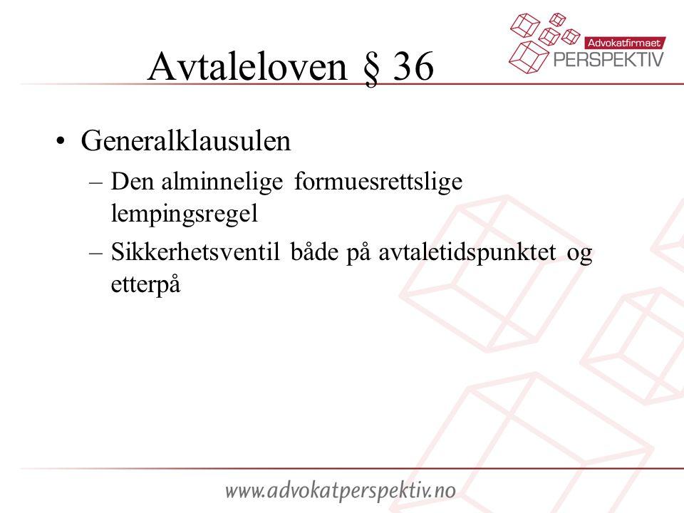Avtaleloven § 36 Generalklausulen