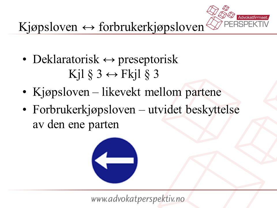 Kjøpsloven ↔ forbrukerkjøpsloven