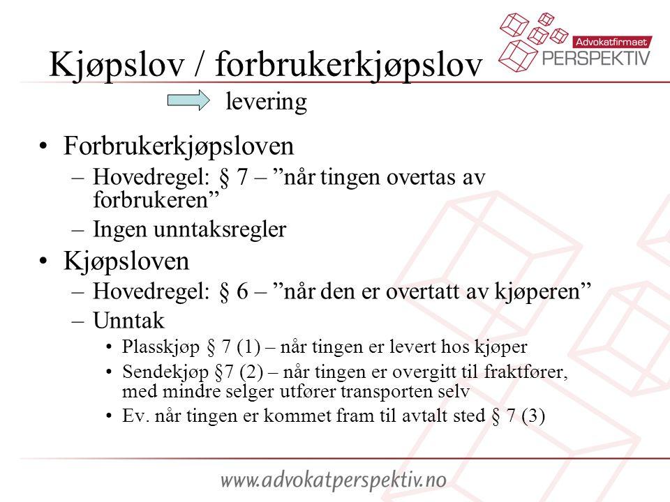 Kjøpslov / forbrukerkjøpslov levering