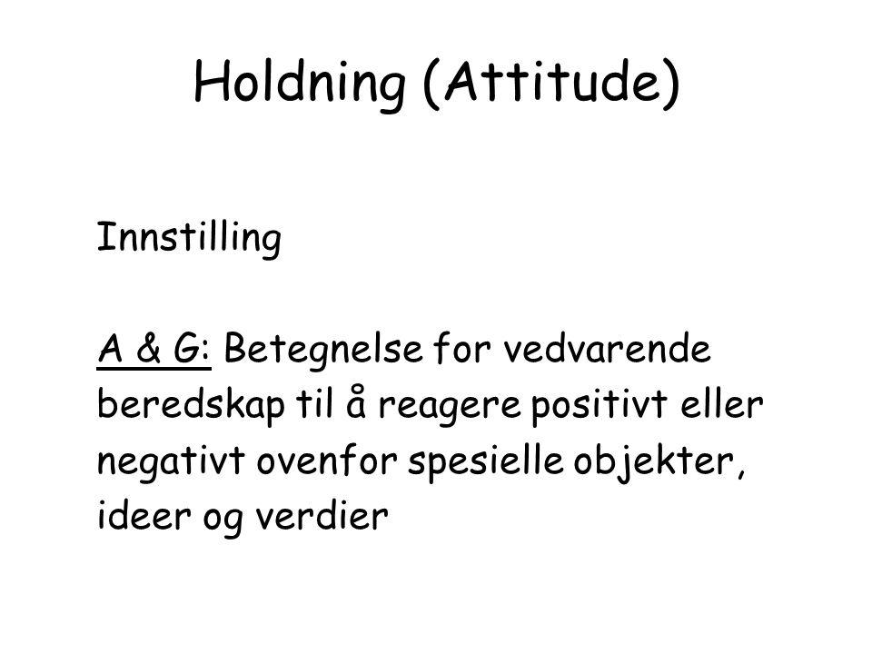 Holdning (Attitude) Innstilling A & G: Betegnelse for vedvarende