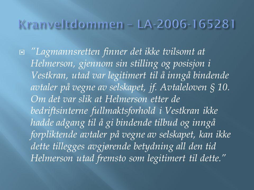 Kranveltdommen – LA-2006-165281