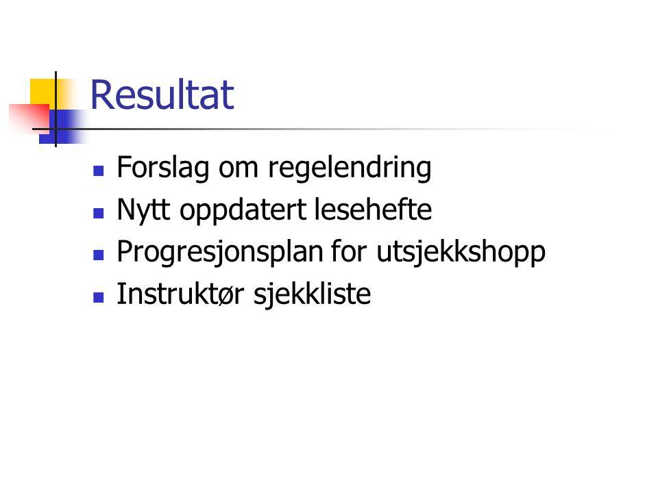 Resultat Forslag om regelendring Nytt oppdatert lesehefte