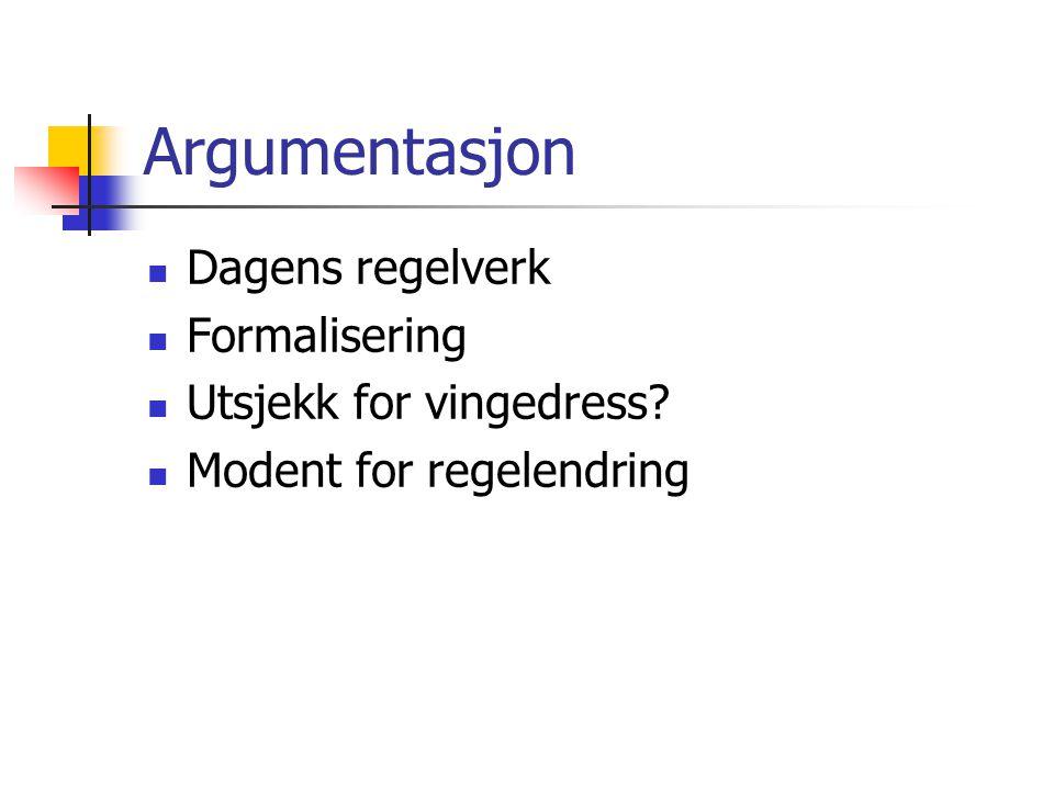 Argumentasjon Dagens regelverk Formalisering Utsjekk for vingedress