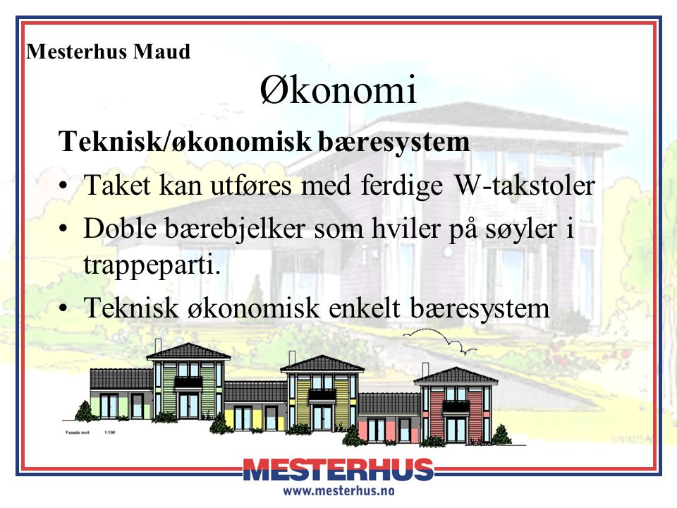 Økonomi Teknisk/økonomisk bæresystem
