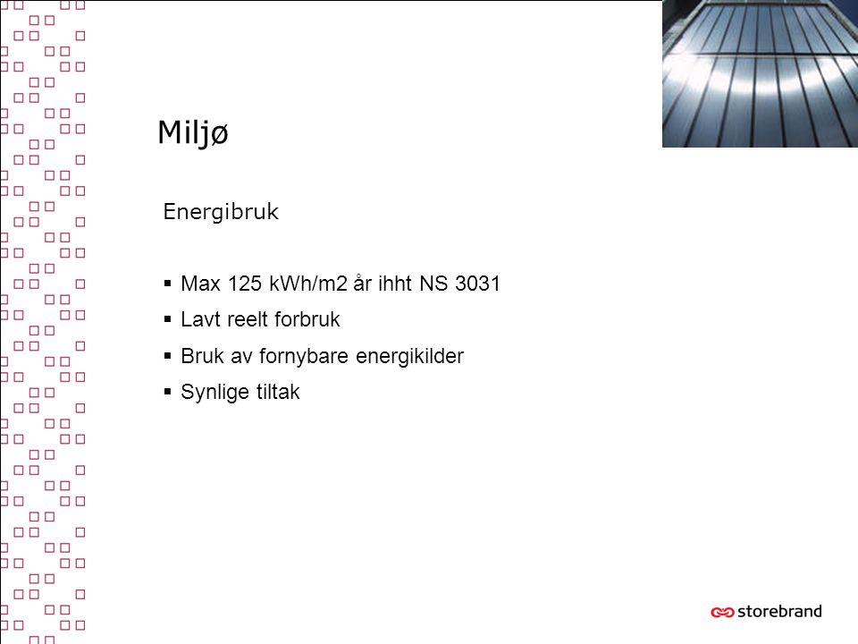 Miljø Energibruk Max 125 kWh/m2 år ihht NS 3031 Lavt reelt forbruk
