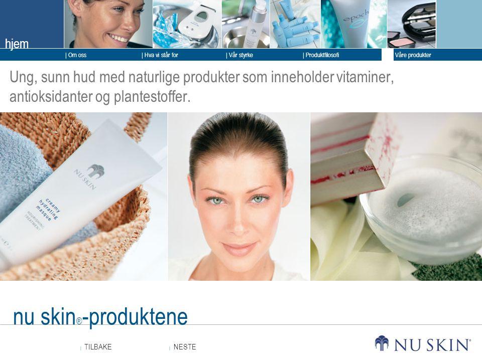 Ung, sunn hud med naturlige produkter som inneholder vitaminer, antioksidanter og plantestoffer.