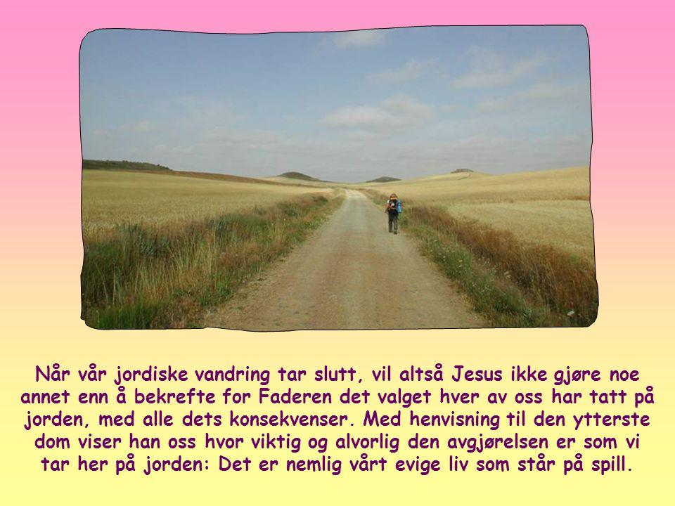 Når vår jordiske vandring tar slutt, vil altså Jesus ikke gjøre noe annet enn å bekrefte for Faderen det valget hver av oss har tatt på jorden, med alle dets konsekvenser.
