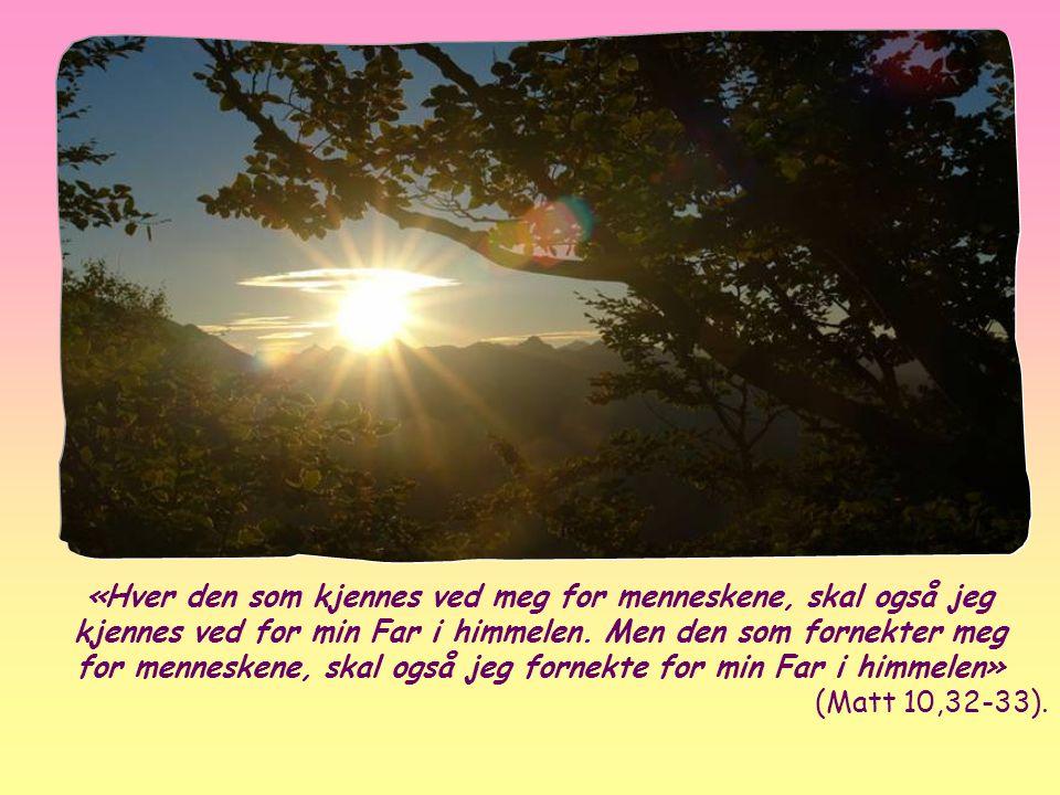 «Hver den som kjennes ved meg for menneskene, skal også jeg kjennes ved for min Far i himmelen. Men den som fornekter meg for menneskene, skal også jeg fornekte for min Far i himmelen»