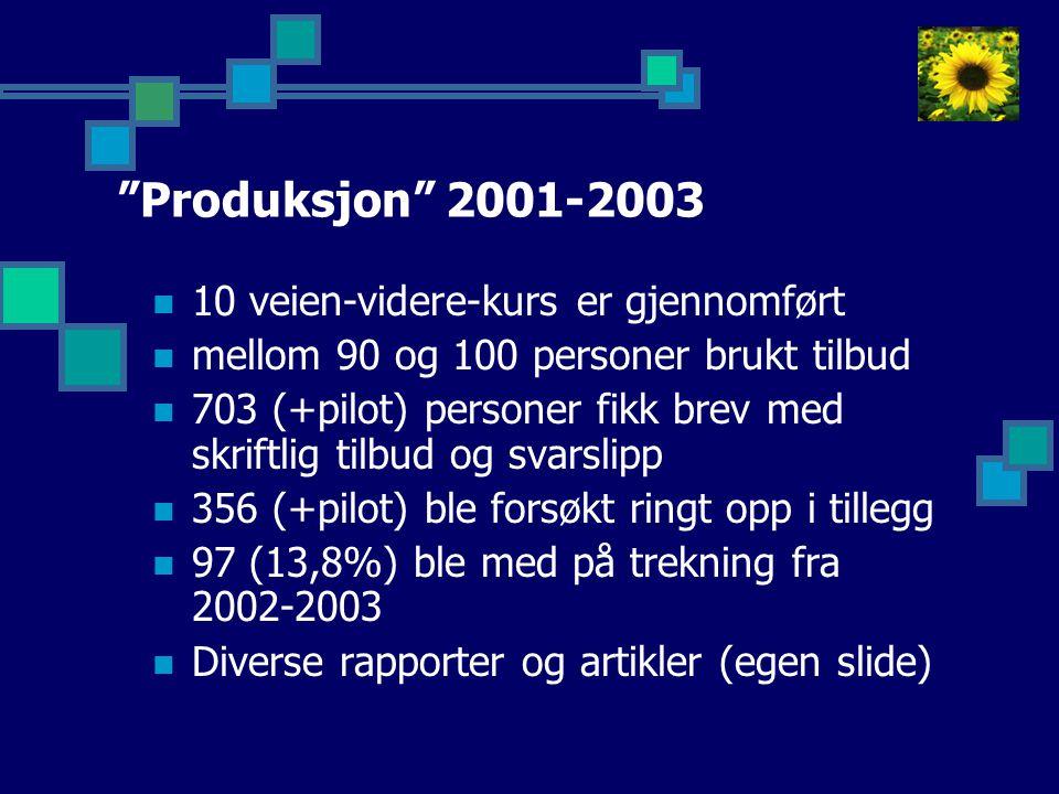 Produksjon 2001-2003 10 veien-videre-kurs er gjennomført