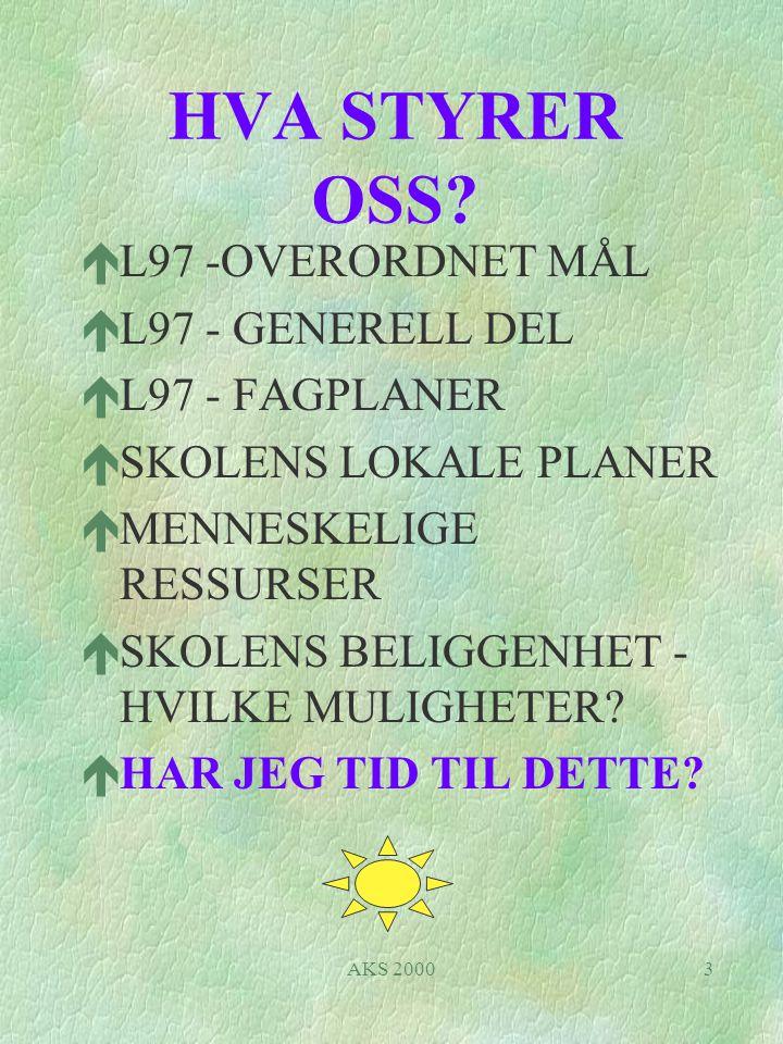 HVA STYRER OSS L97 -OVERORDNET MÅL L97 - GENERELL DEL L97 - FAGPLANER