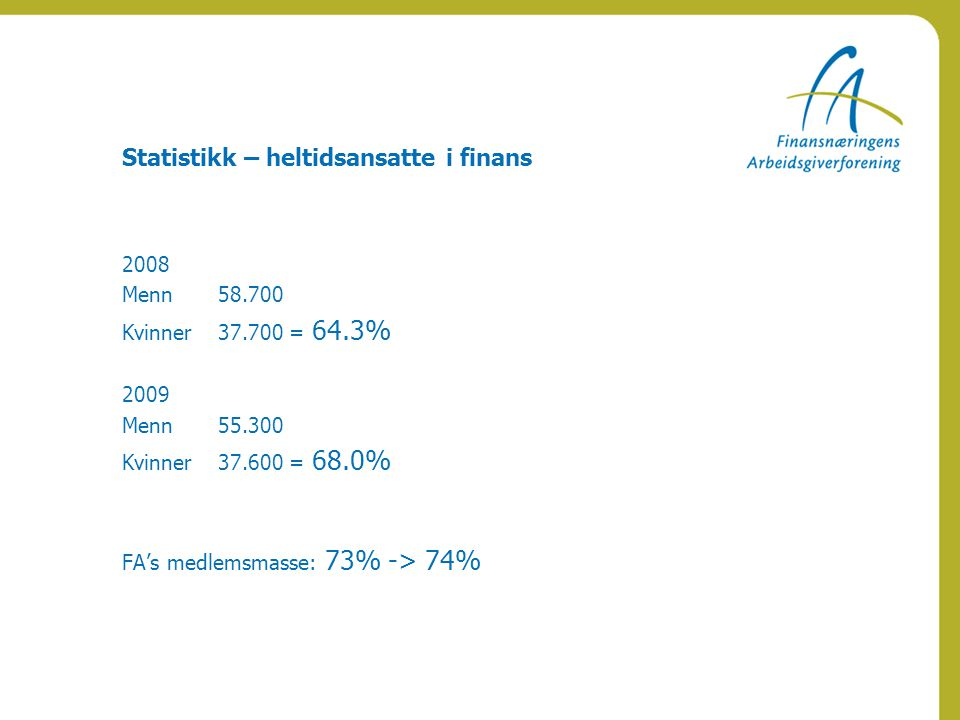 Statistikk – heltidsansatte i finans