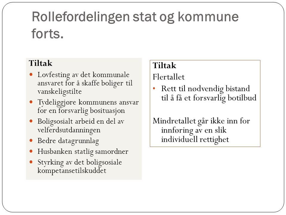 Rollefordelingen stat og kommune forts.
