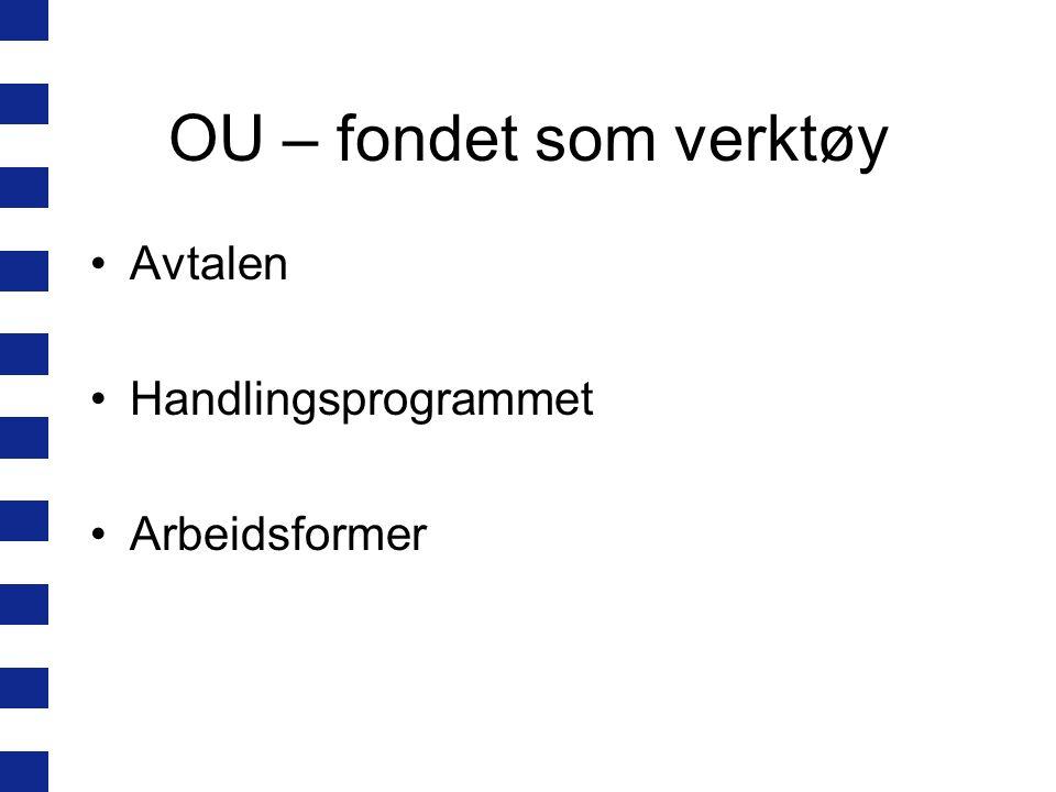 OU – fondet som verktøy Avtalen Handlingsprogrammet Arbeidsformer