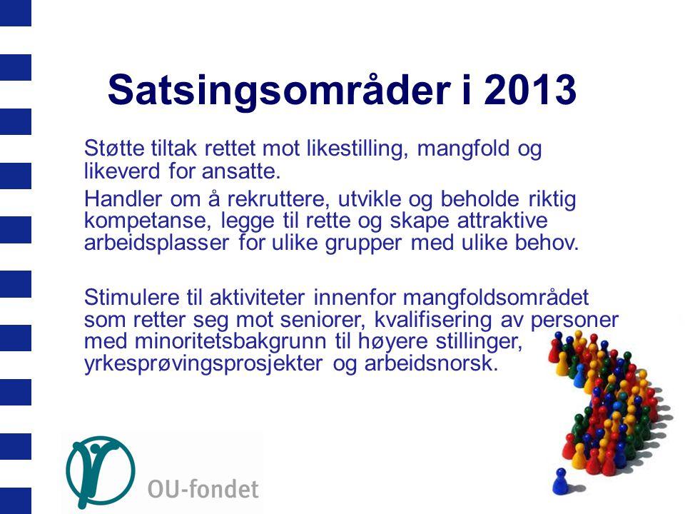 Satsingsområder i 2013 Støtte tiltak rettet mot likestilling, mangfold og likeverd for ansatte.