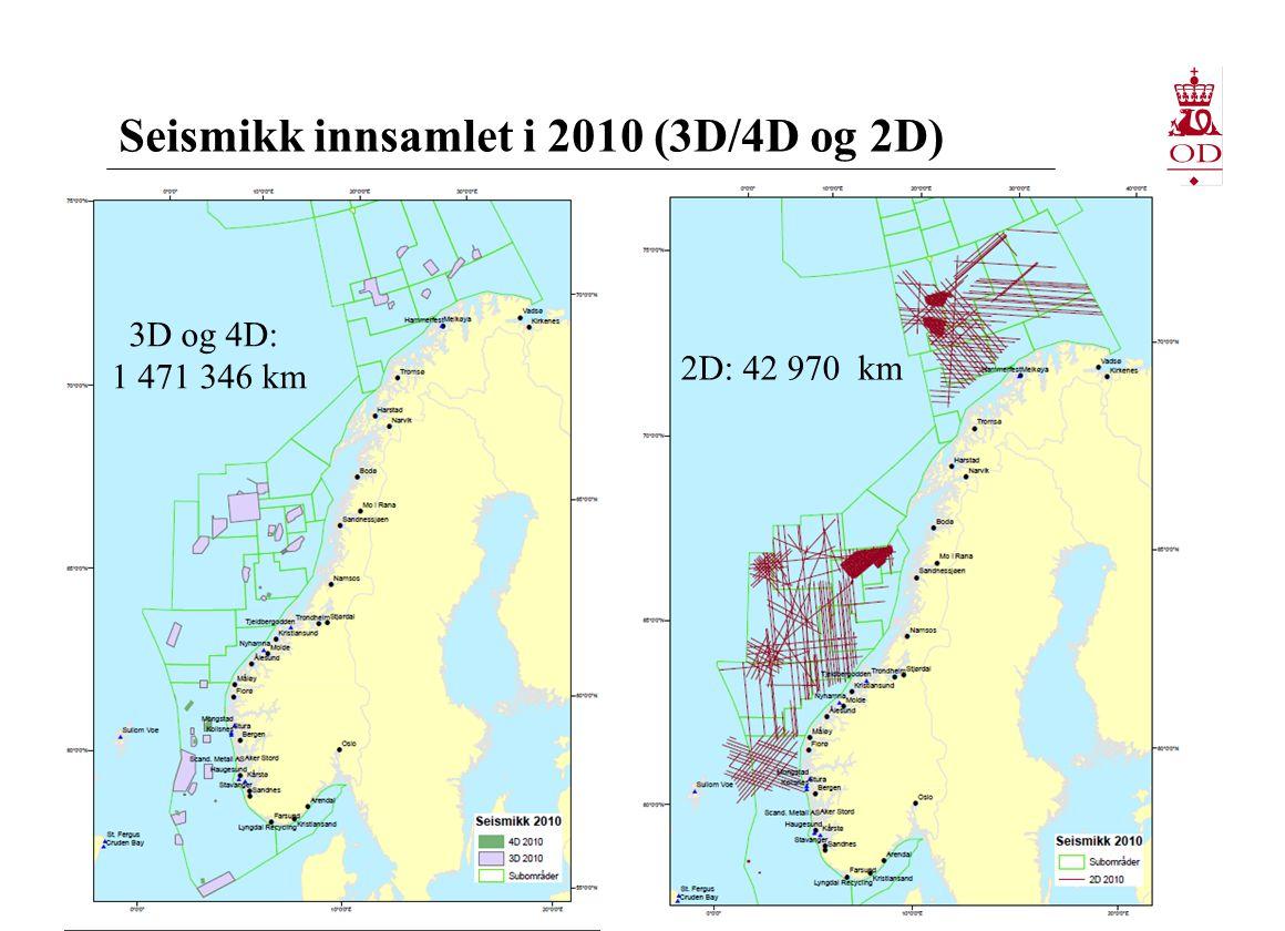 Seismikk innsamlet i 2010 (3D/4D og 2D)