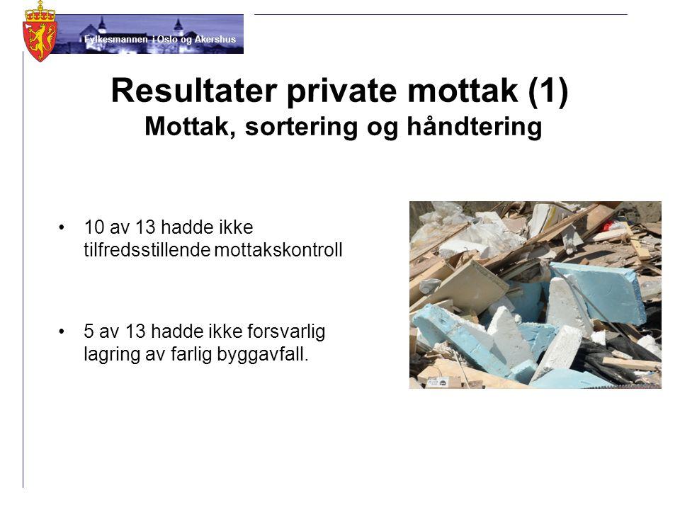 Resultater private mottak (1) Mottak, sortering og håndtering