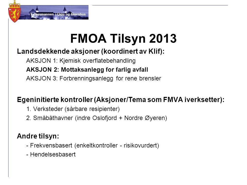 FMOA Tilsyn 2013 Landsdekkende aksjoner (koordinert av Klif):