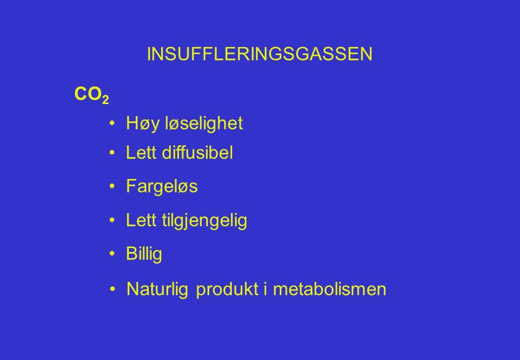 INSUFFLERINGSGASSEN CO2. Høy løselighet. Lett diffusibel. Fargeløs. Lett tilgjengelig. Billig.