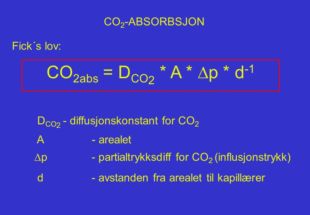 CO2abs = DCO2 * A * Dp * d-1 CO2-ABSORBSJON Fick´s lov: