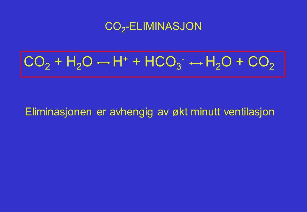 CO2 + H2O H+ + HCO3- H2O + CO2 CO2-ELIMINASJON