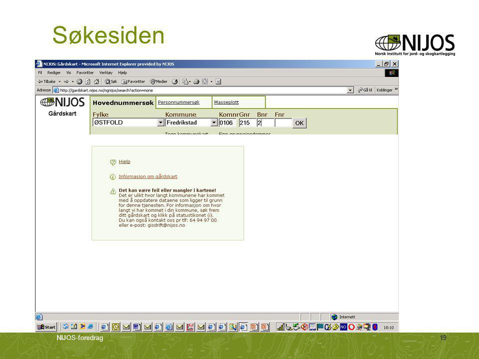 Søkesiden Søkegård: 106-215/2, 105-1083/1 220-1-1 (RMP) NIJOS-foredrag