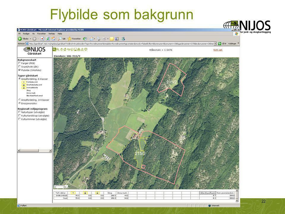 Flybilde som bakgrunn Mange synes det er lettere å kjenne seg igjen med flybilde som bakgrunn.