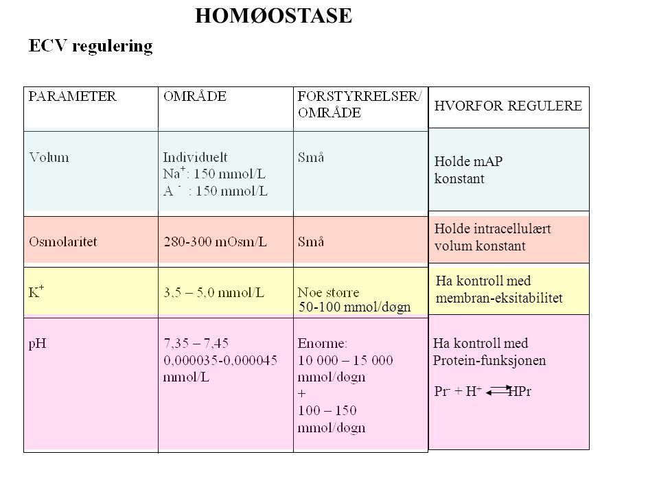 HOMØOSTASE HVORFOR REGULERE Holde mAP konstant Holde intracellulært