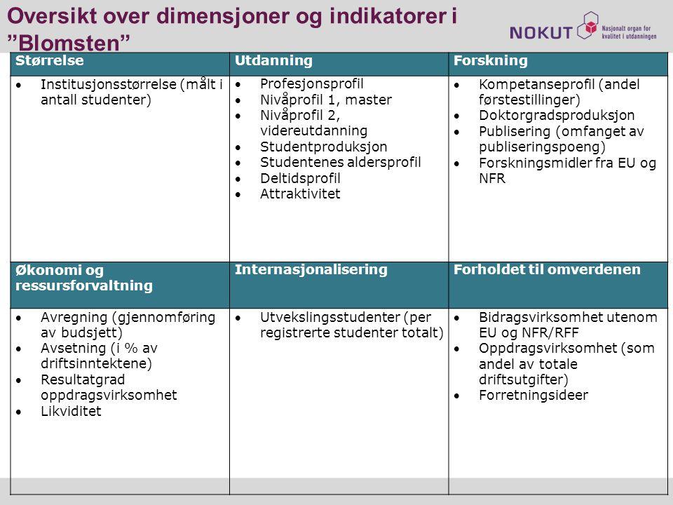 Oversikt over dimensjoner og indikatorer i Blomsten