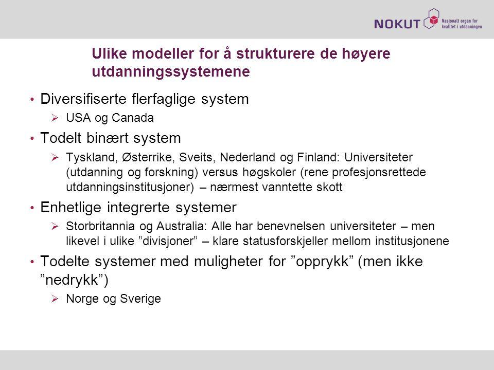 Ulike modeller for å strukturere de høyere utdanningssystemene