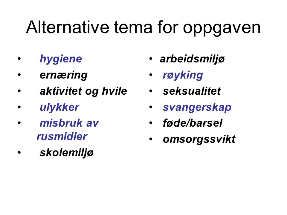 Alternative tema for oppgaven