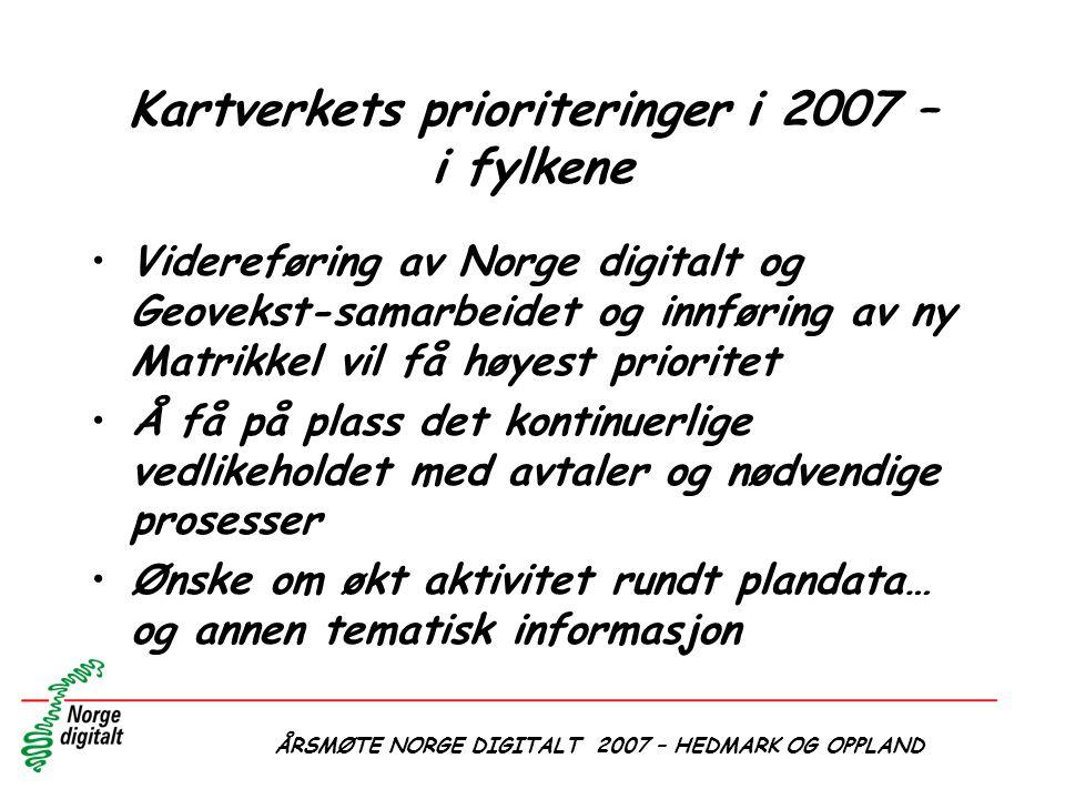 Kartverkets prioriteringer i 2007 – i fylkene