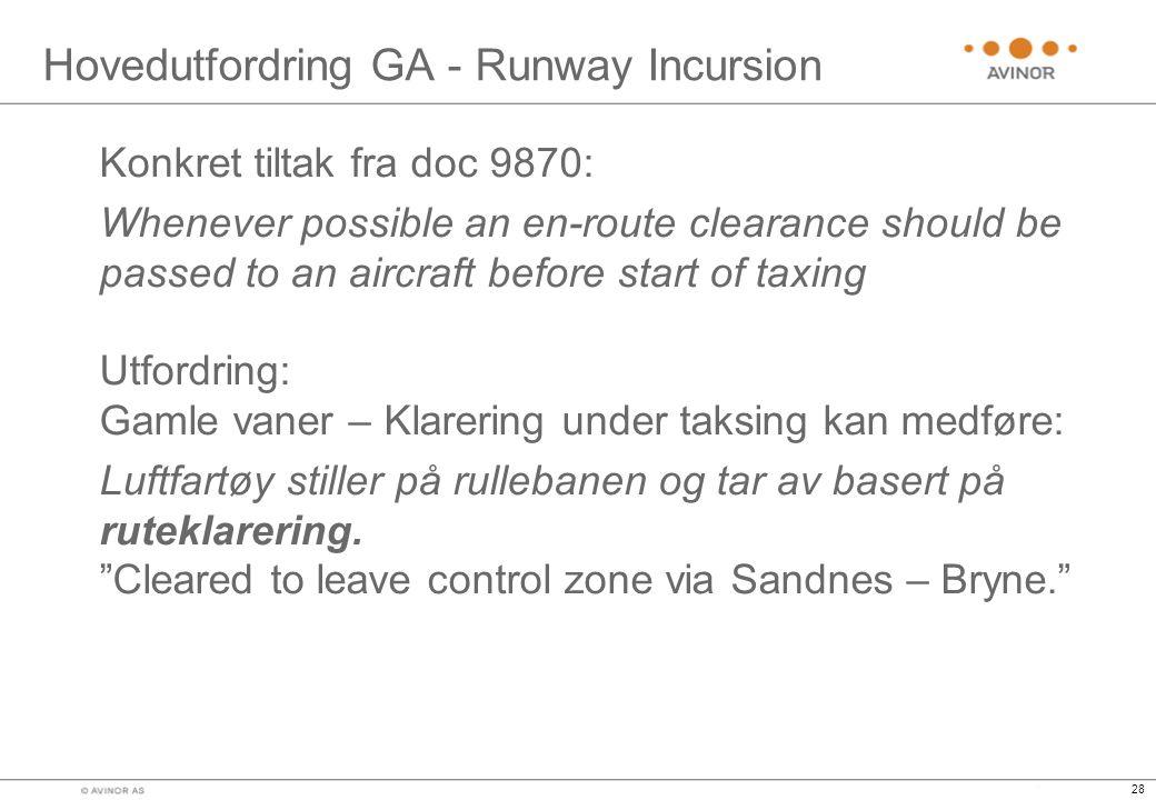 Hovedutfordring GA - Runway Incursion