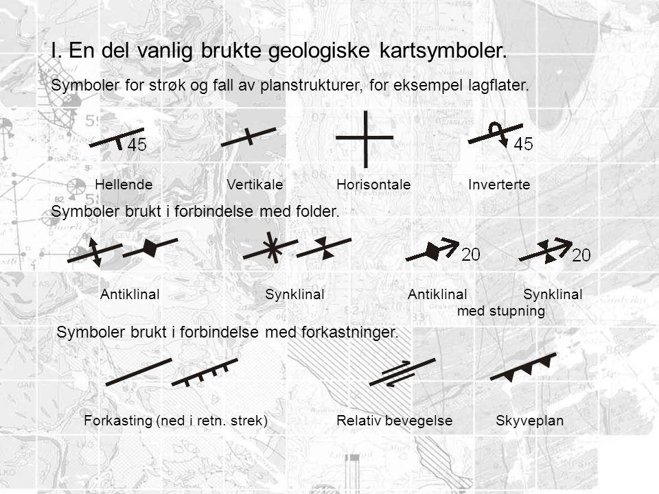I. En del vanlig brukte geologiske kartsymboler.