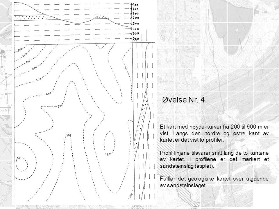 Øvelse Nr. 4. Et kart med høyde-kurver fra 200 til 900 m er vist. Langs den nordre og østre kant av kartet er det vist to profiler.