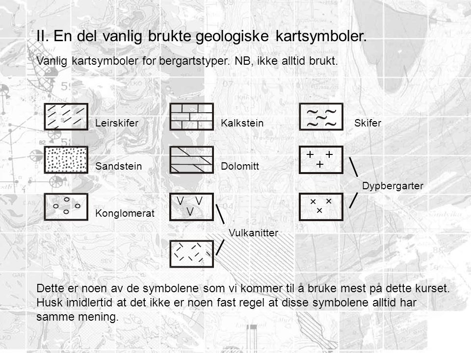 II. En del vanlig brukte geologiske kartsymboler.