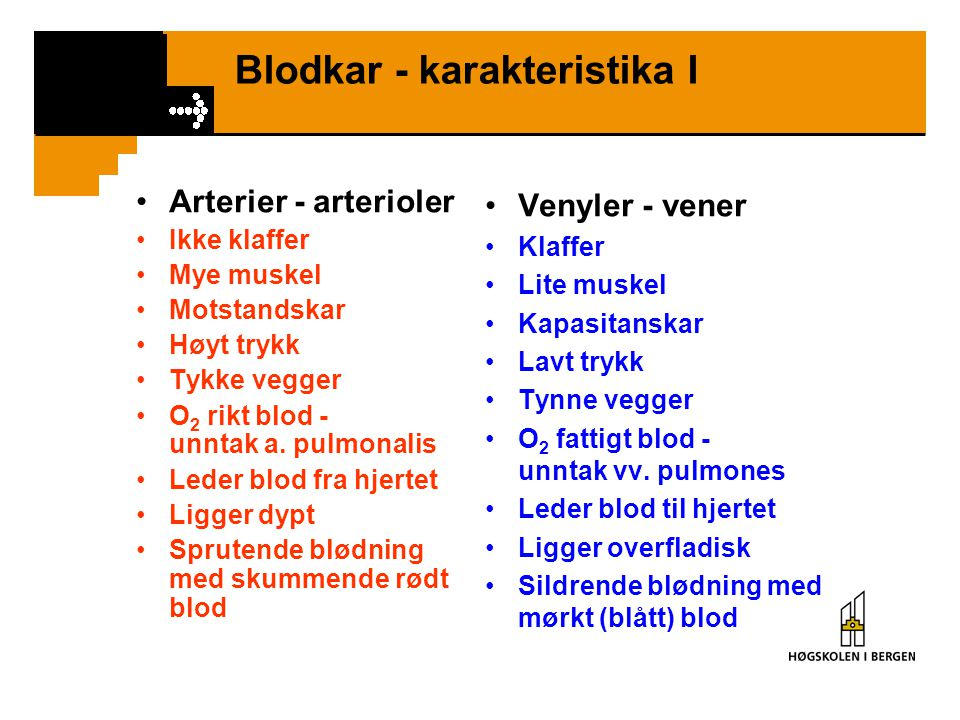 Blodkar - karakteristika I