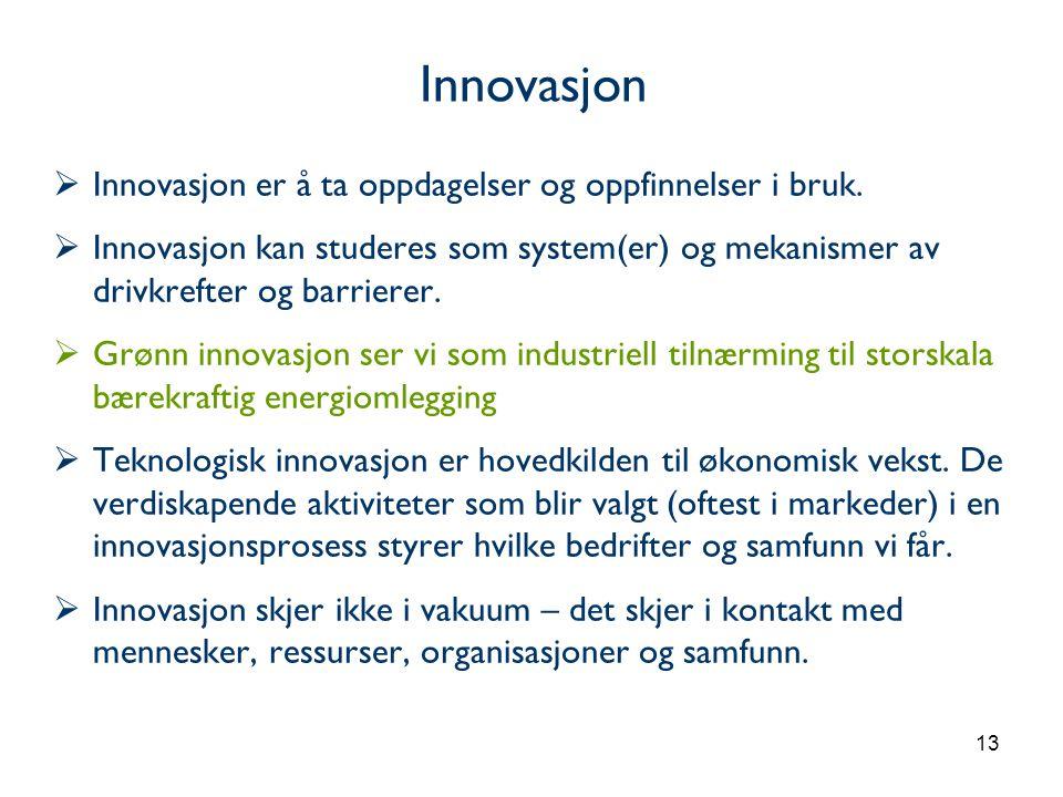 Innovasjon Innovasjon er å ta oppdagelser og oppfinnelser i bruk.