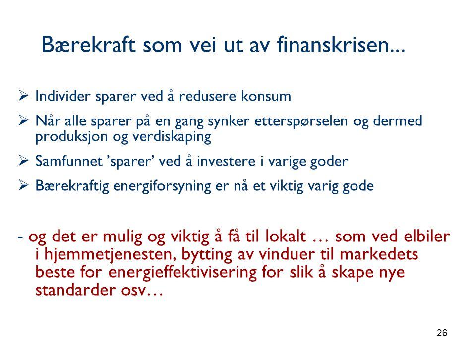 Bærekraft som vei ut av finanskrisen...