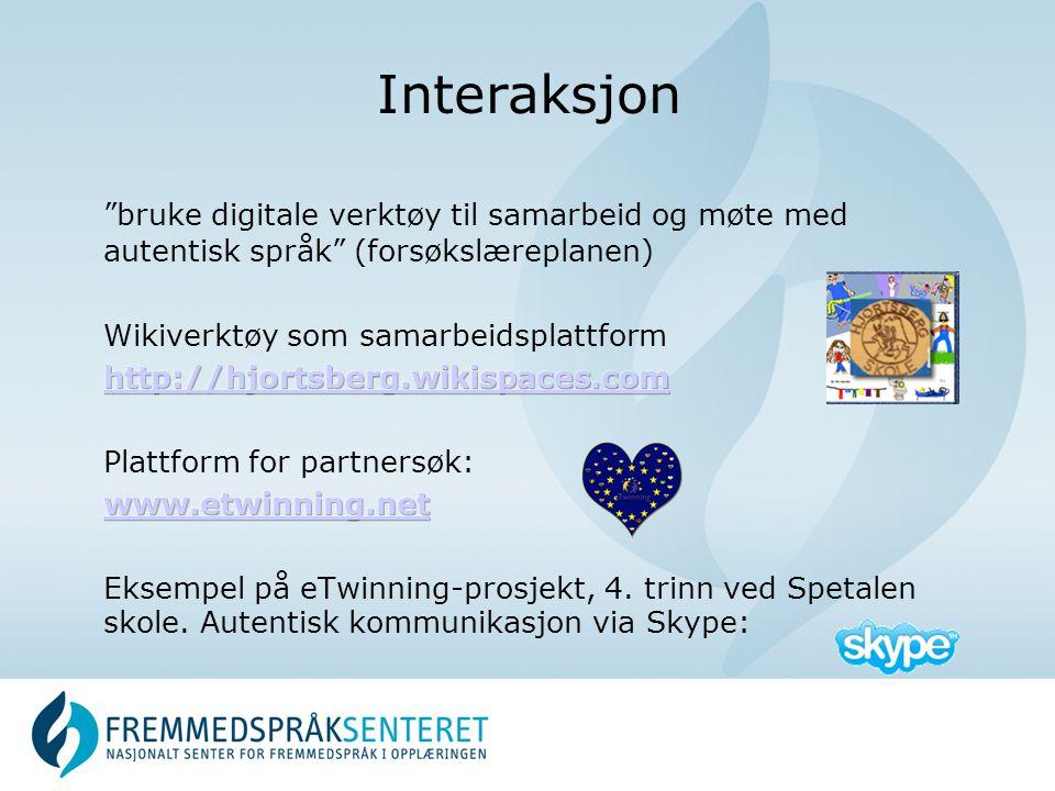 Interaksjon bruke digitale verktøy til samarbeid og møte med autentisk språk (forsøkslæreplanen) Wikiverktøy som samarbeidsplattform.