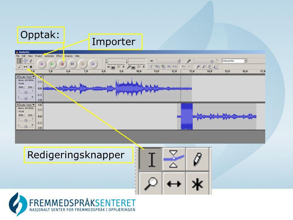 Opptak: Importer Redigeringsknapper