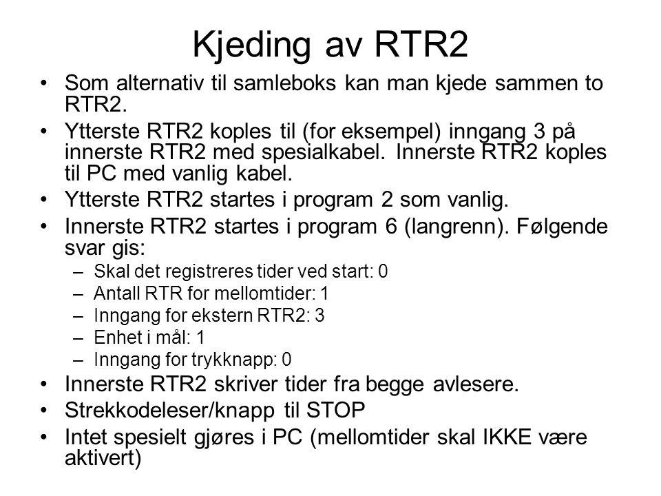 Kjeding av RTR2 Som alternativ til samleboks kan man kjede sammen to RTR2.