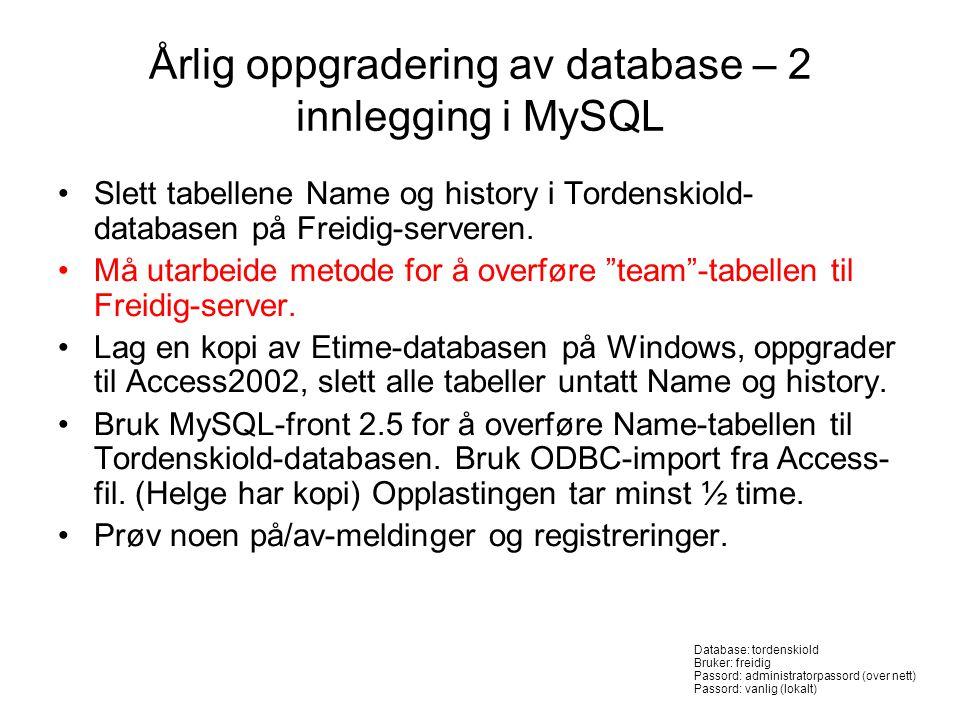 Årlig oppgradering av database – 2 innlegging i MySQL