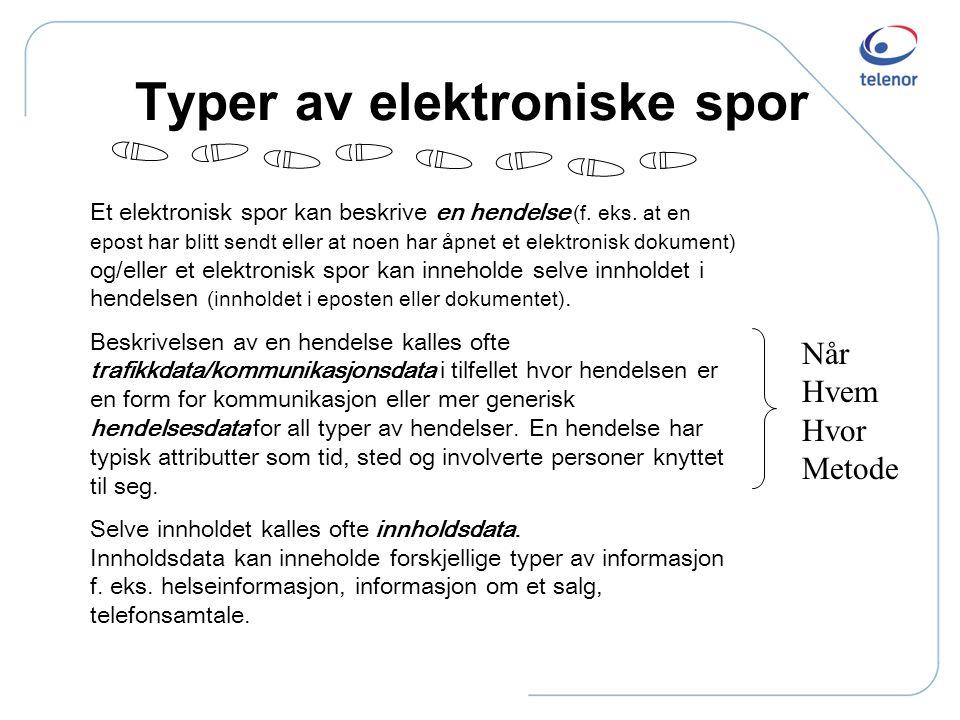 Typer av elektroniske spor