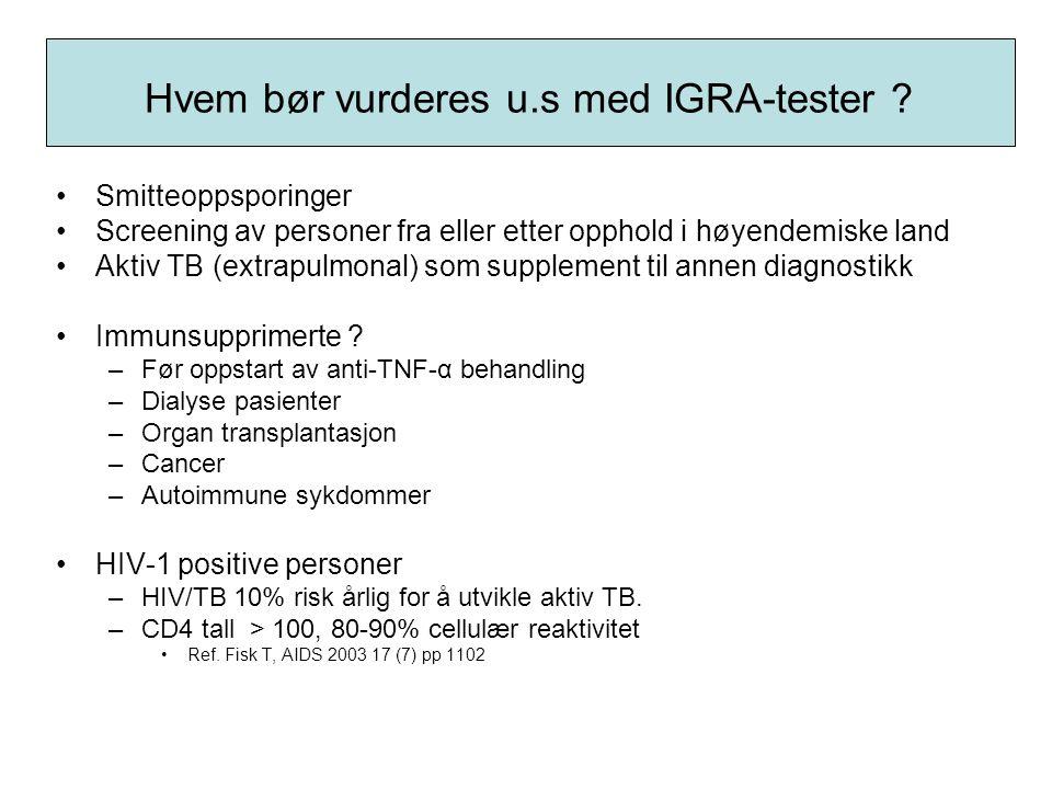 Hvem bør vurderes u.s med IGRA-tester