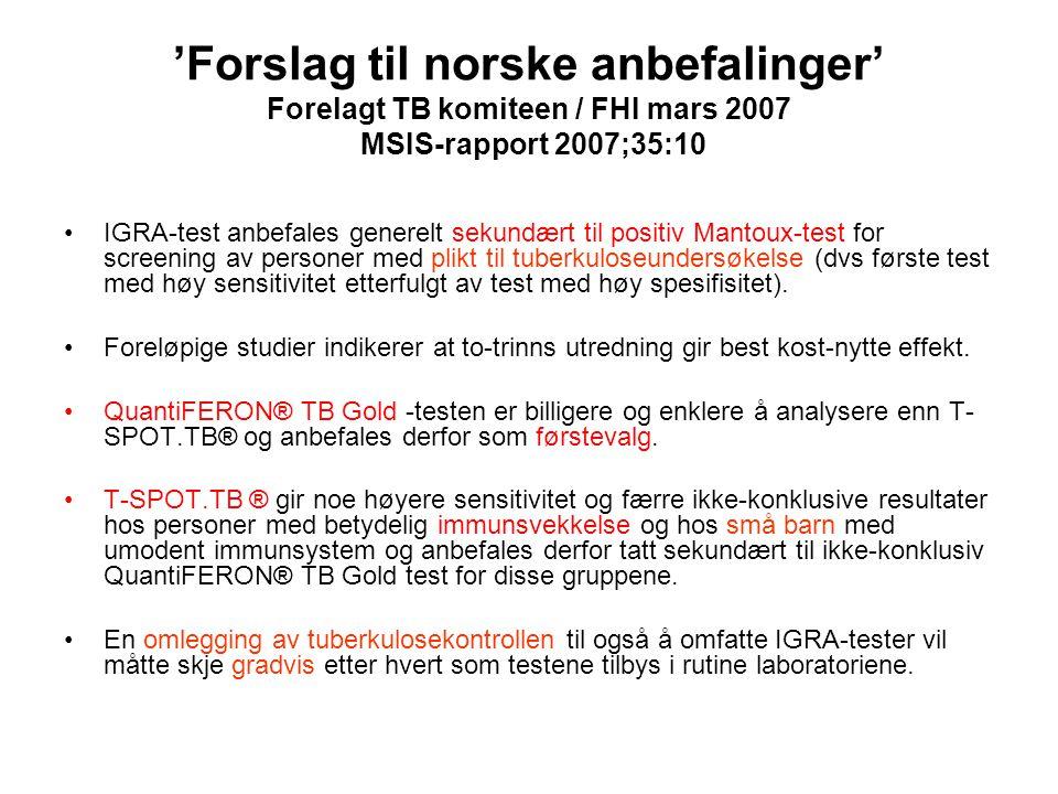 'Forslag til norske anbefalinger' Forelagt TB komiteen / FHI mars 2007 MSIS-rapport 2007;35:10
