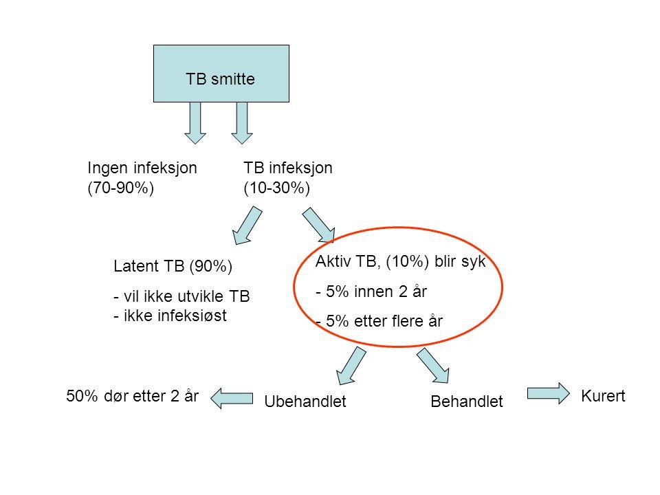 TB smitte Ubehandlet. Aktiv TB, (10%) blir syk. - 5% innen 2 år. - 5% etter flere år. Latent TB (90%)