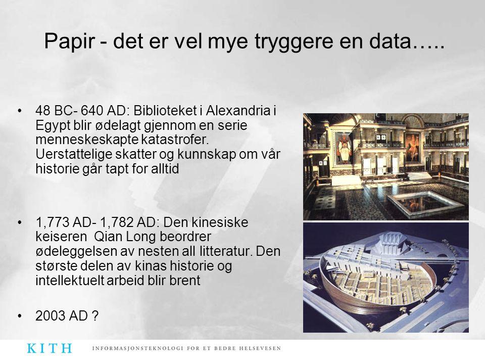 Papir - det er vel mye tryggere en data…..