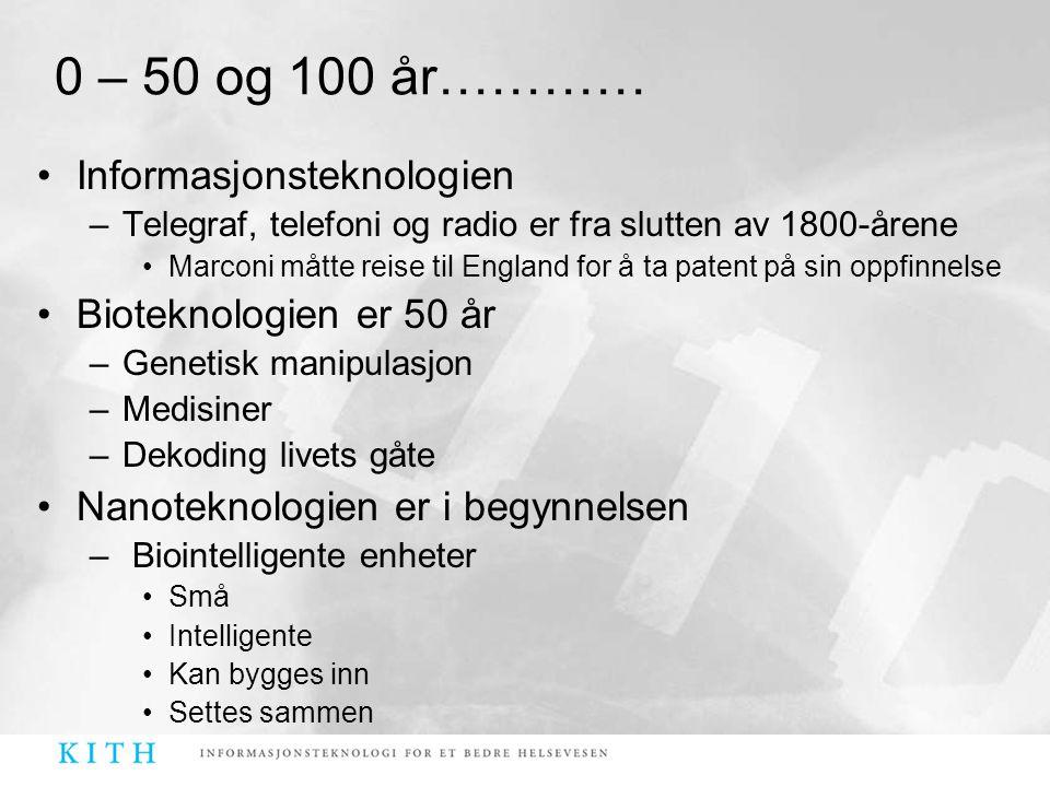 0 – 50 og 100 år………… Informasjonsteknologien Bioteknologien er 50 år