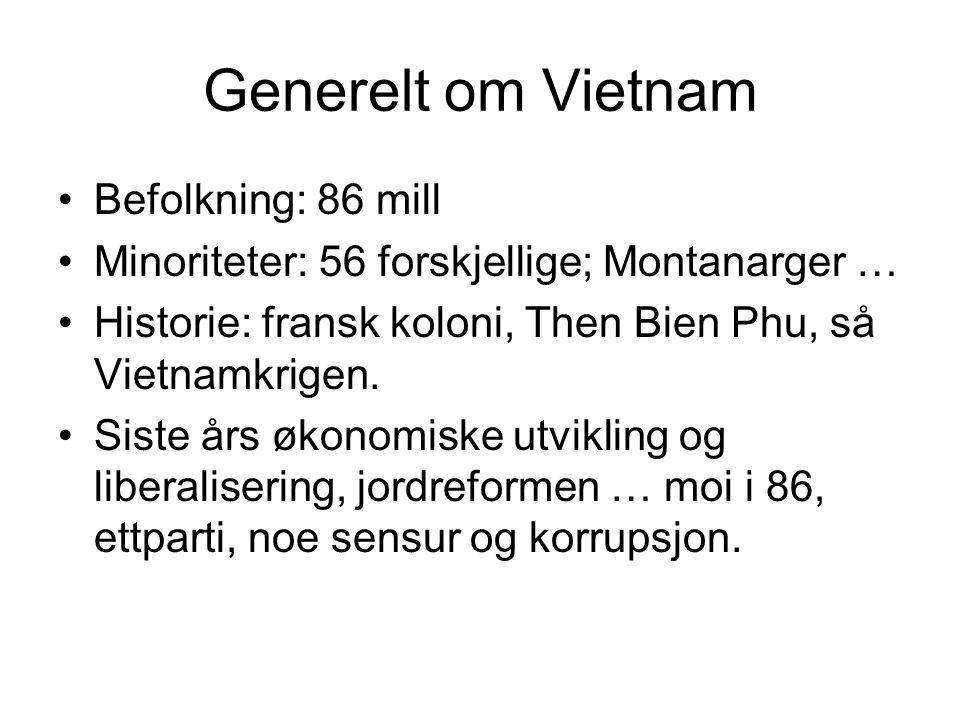 Generelt om Vietnam Befolkning: 86 mill